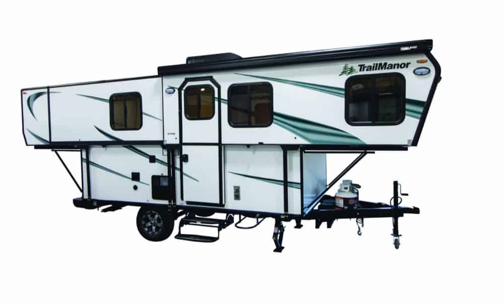 TrailManor 2518 hard sided pop up camper exterior.