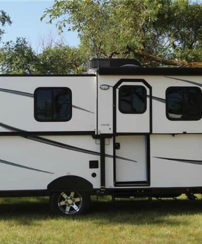 Trailmanor hard side pop up camper exterior.
