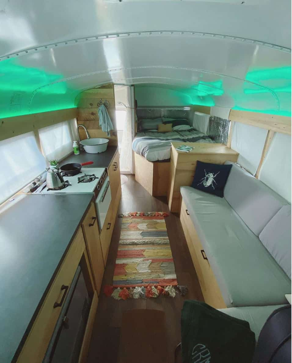 the interior of cecilia the short bus conversion