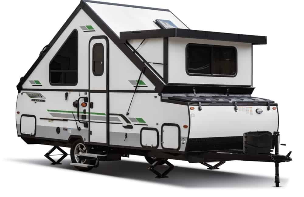 Exterior view of Forest River Rockwood hard side pop up trailer.