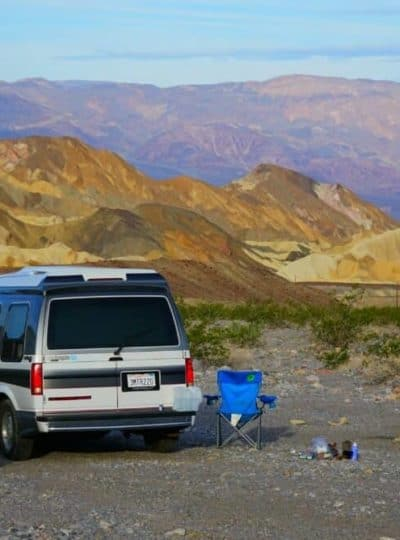 free camping in death valley with a chevy astro van