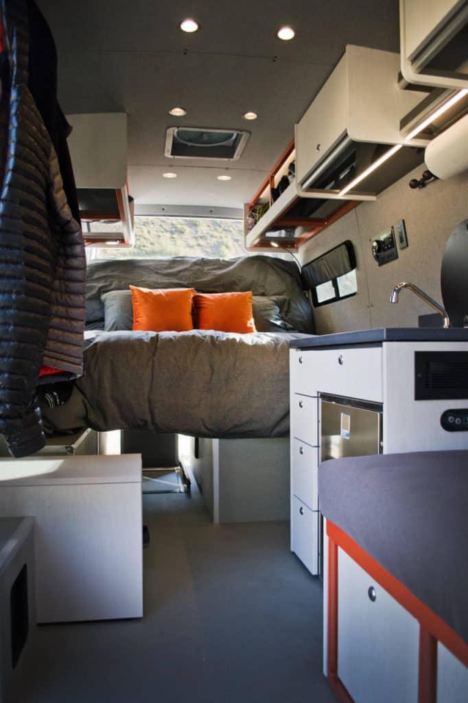 Interior of a Sprinter camper van custom conversion