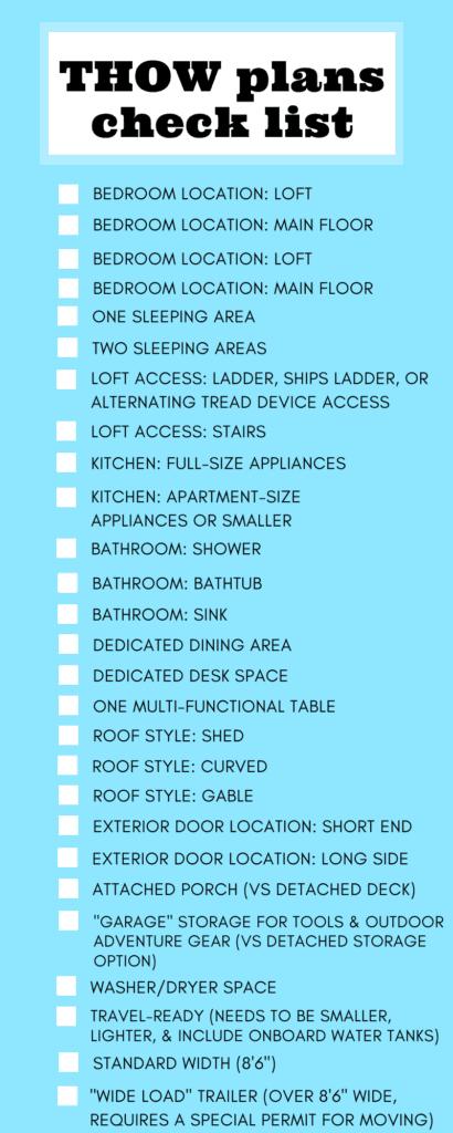 Tiny house on wheels floor plan checklist.