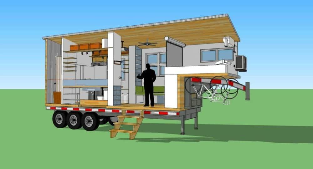 Terraform One tiny house on wheels floor plan digital model.