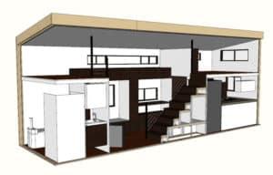 hOMe tiny house floor plan digital model.