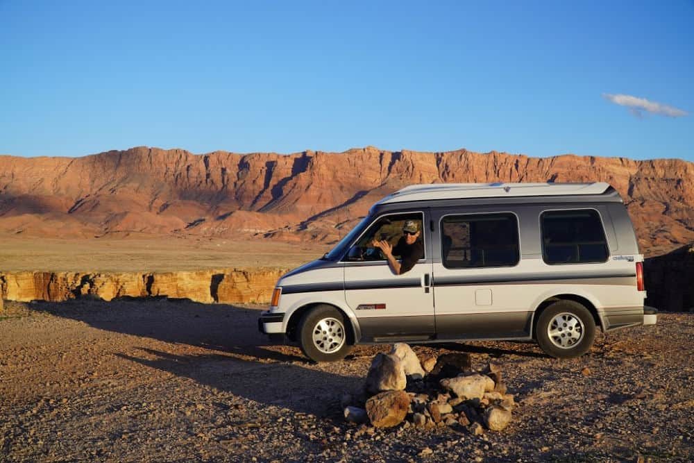 Chevy Astro parked in Arizona, which we think is the best budget vehicle you can live in