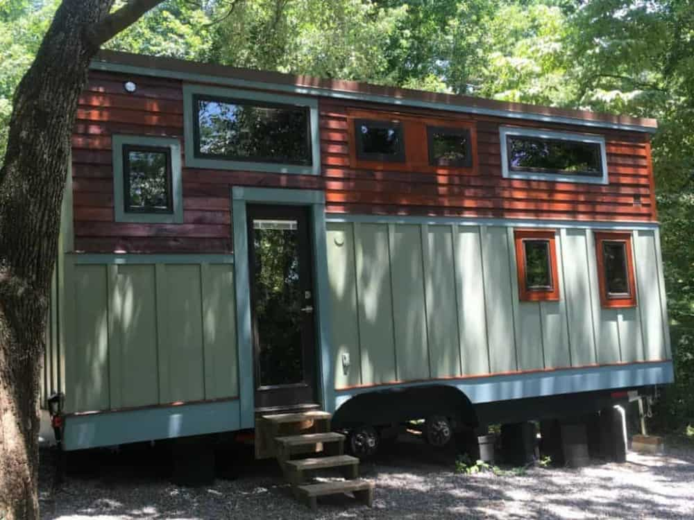 Exterior side view of La Casita tiny home for sale in Texas.