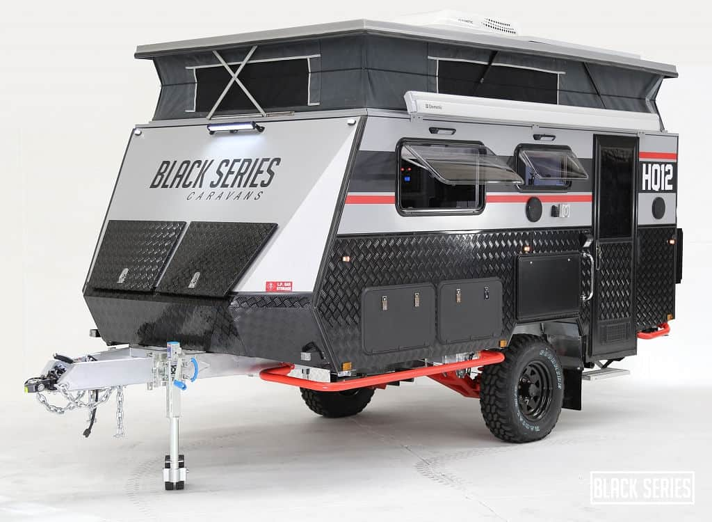 The Black Series off road travel trailer features a rugged, compact design.