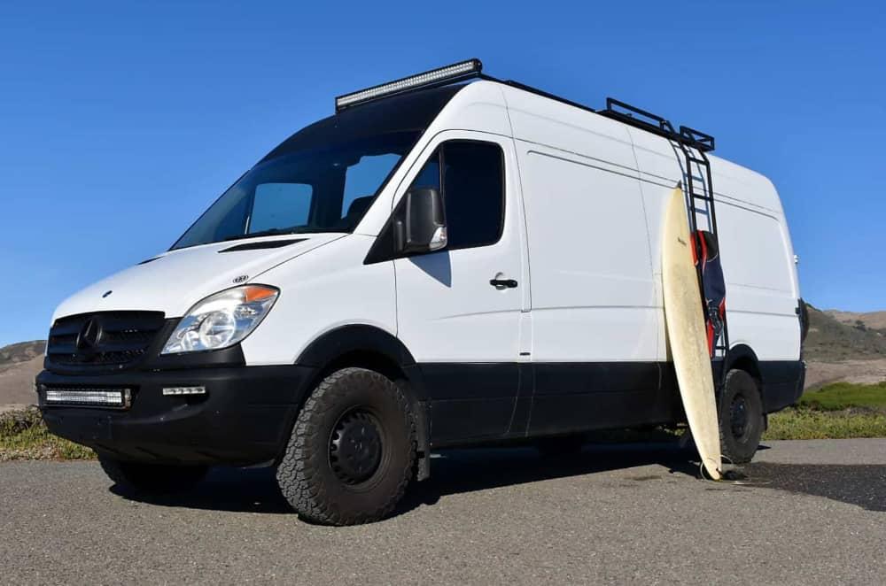 van diesel sprinter camper van rental with surfboard