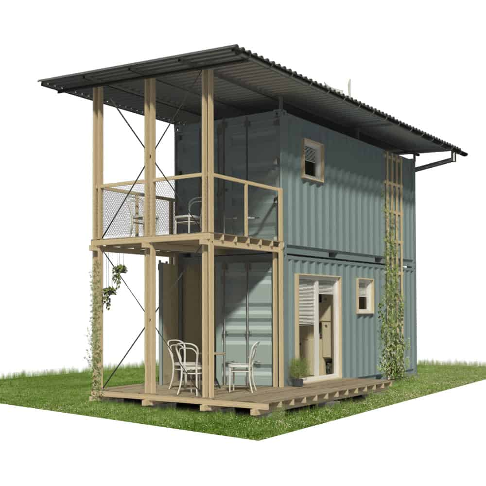 Rendering of a two story shipping container home, made using Pinup Houses shipping container homes plans.