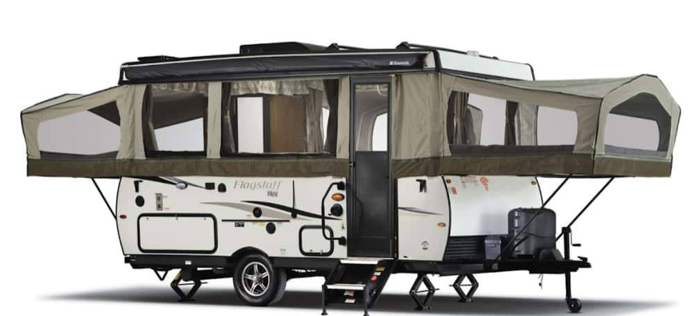 Forest River Flagstaff T21DMHW pop up trailer with bathroom exterior view with pop outs open.