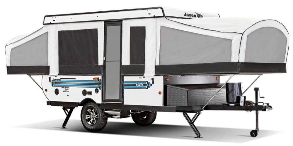 Jayco Jay Sport pop up trailer with bathroom exterior view with pop ups  open.