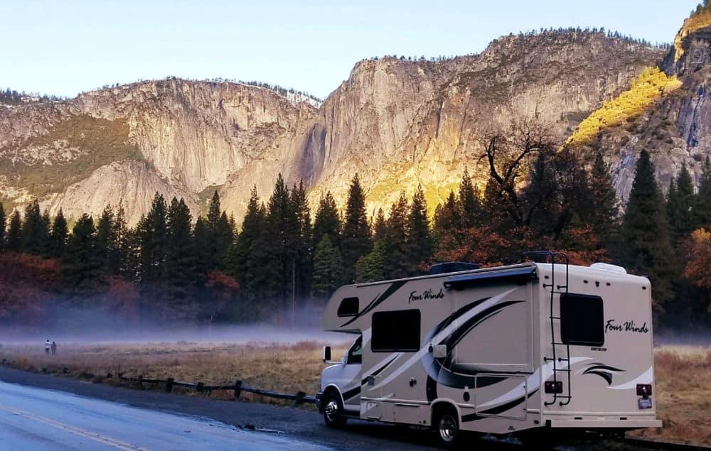 RV rental driving down the road near Yosemite