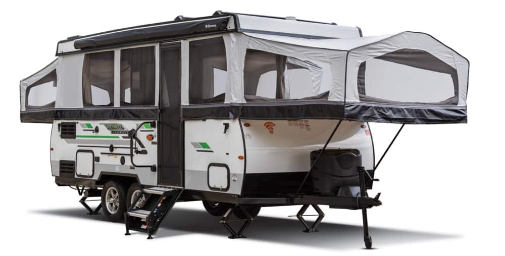 Rockwood Freedom pop up trailer with bathroom exterior view.