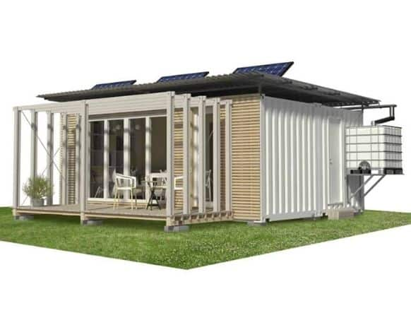 Rendering of home made using 2 20-foot shipping container floor plans.
