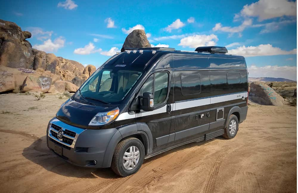 Hymer Activ RV rental parked in the desert