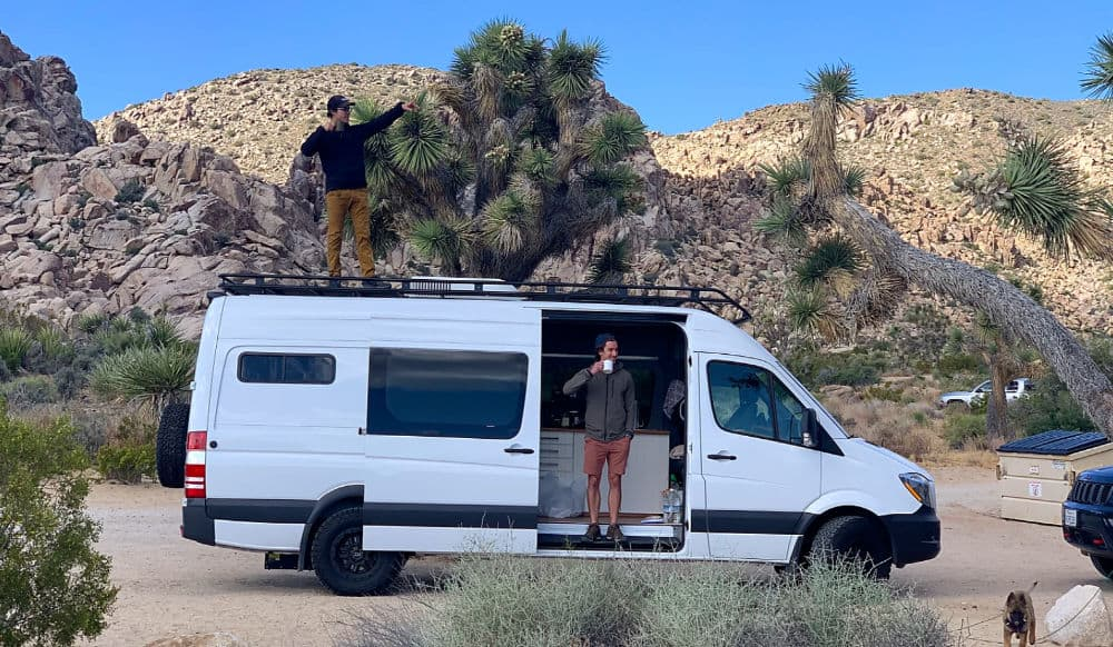 white campervan rental with joshua trees and boulders