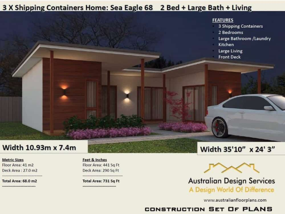 Rendering of home made with Sea Eagle 68 container home plans.