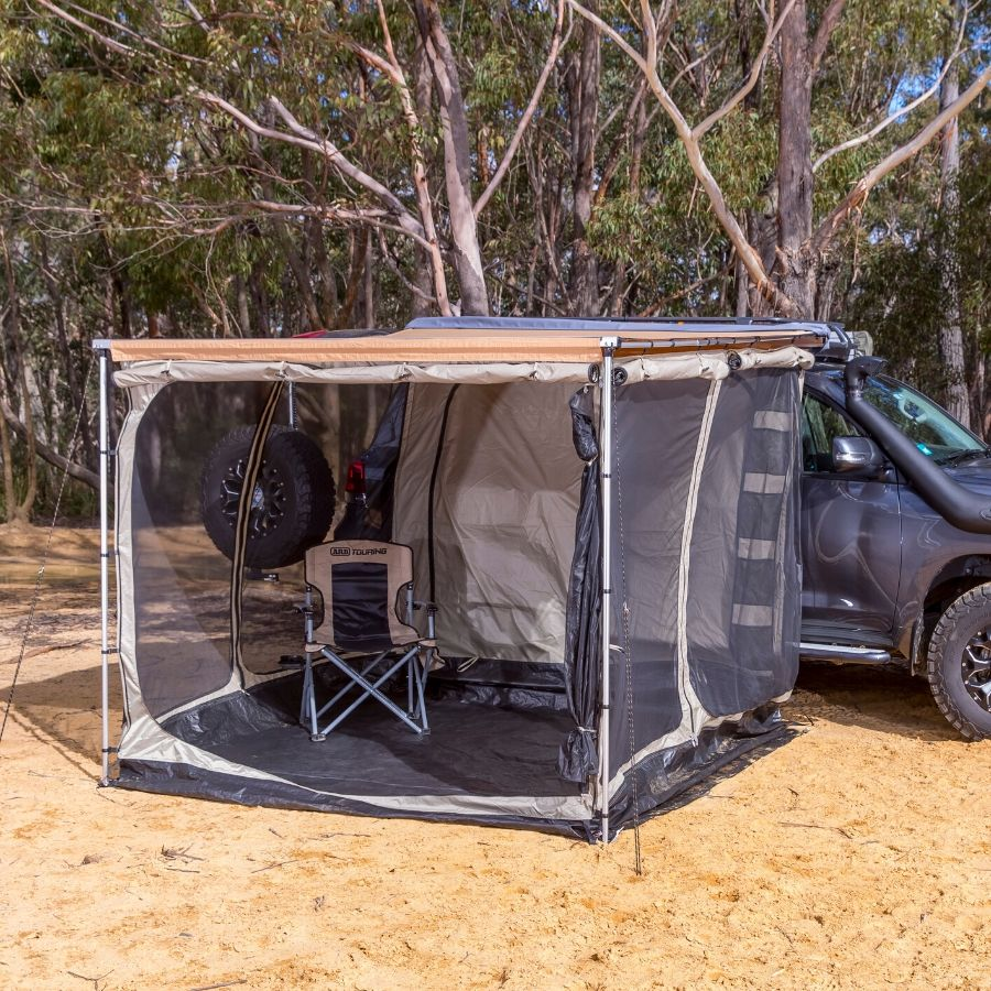 ARB awning with mosquito net walls on all sides.