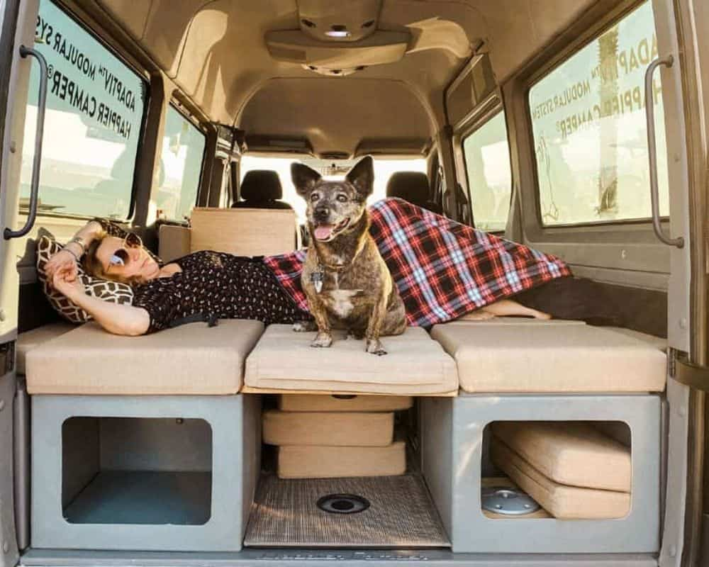 The bed is included in this modular Sprinter van conversion kit.