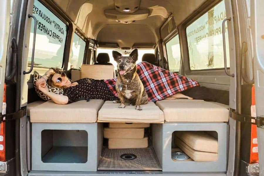 The bed is included in this modular Sprinter van conversion kit