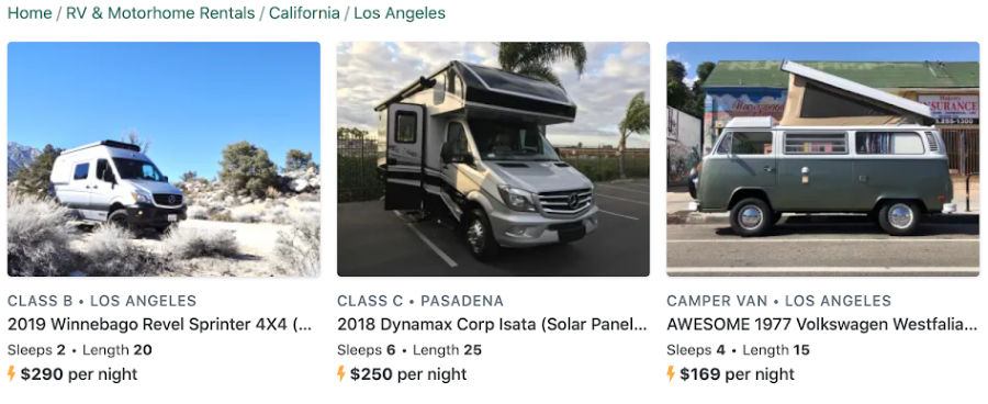 RVs for Rent on RV Rental company Outdoorsy