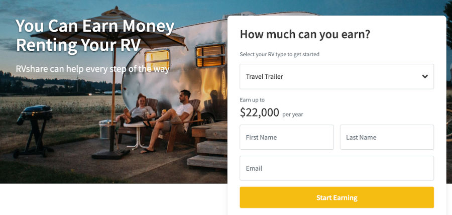 RVShare is a website where you can work on renting out your RV