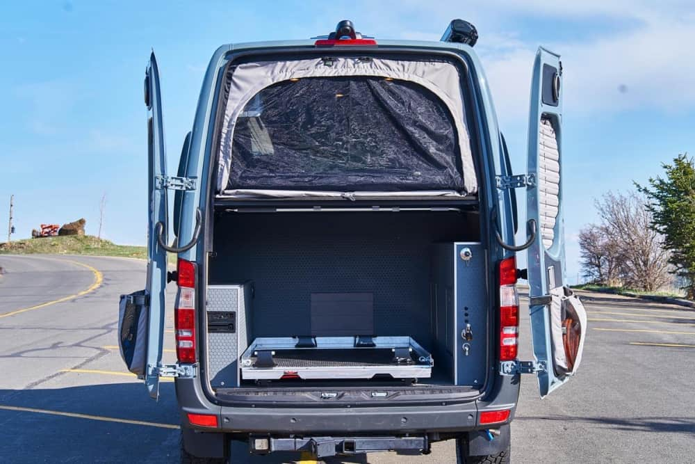TouRig Sprinter van conversion kit shown from back of van.