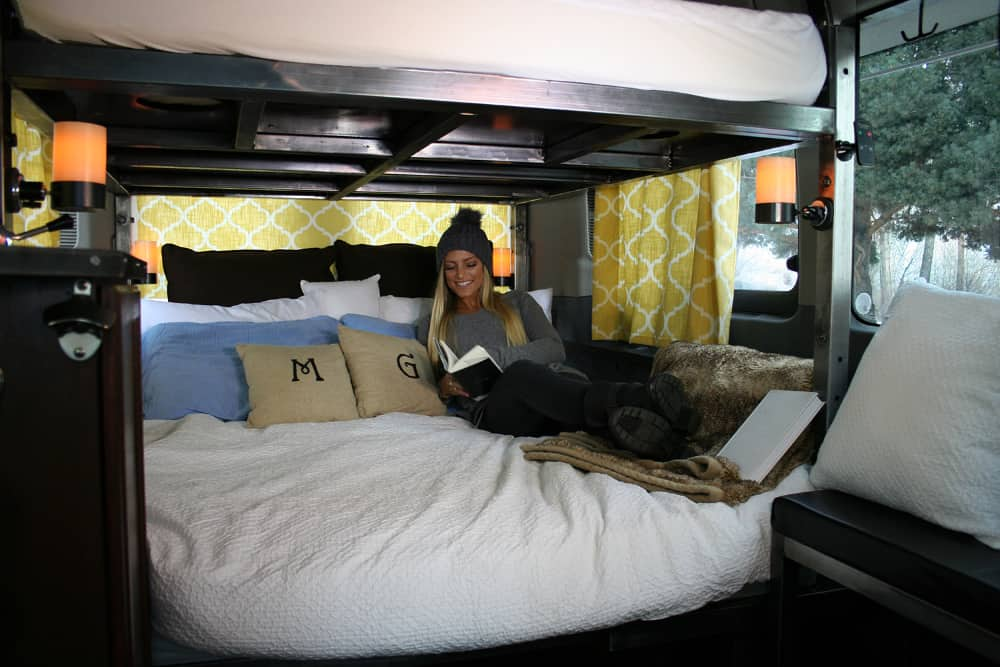 Wandervans' double tier Sprinter conversion kit with large, cozy beds.