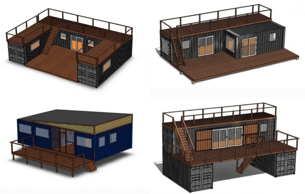 4 digital renderings of possible container home configurations by Backcountry containers custom container home builders.