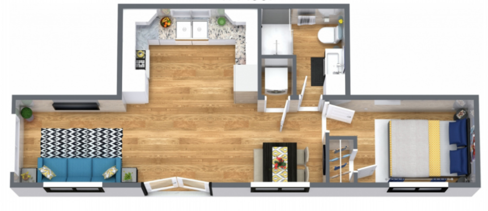 Digital rendering of inside of a container home by Custom Container living, contains a one bed, one bath container with open living and kitchen area.