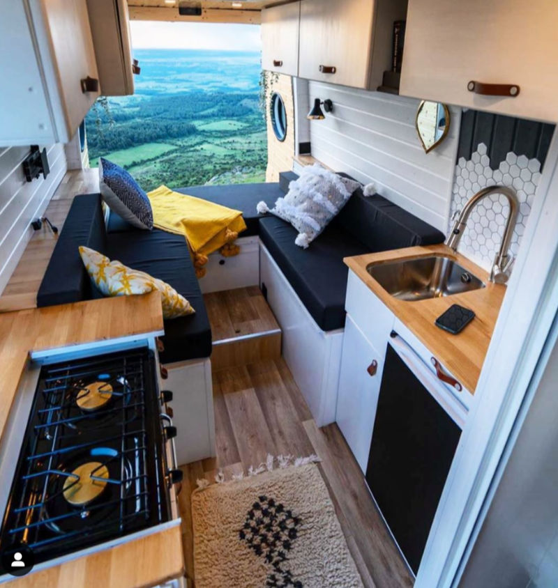 Kitchen and bench seats from a campervan conversion company in Colorado