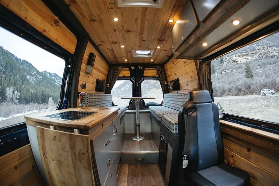Aspen Vans van conversion company created this gorgeous wooden interior conversion