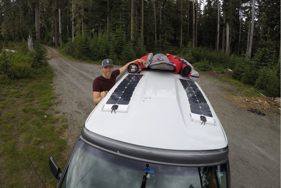 campervan with two flexible solar panels are a boondocking essential