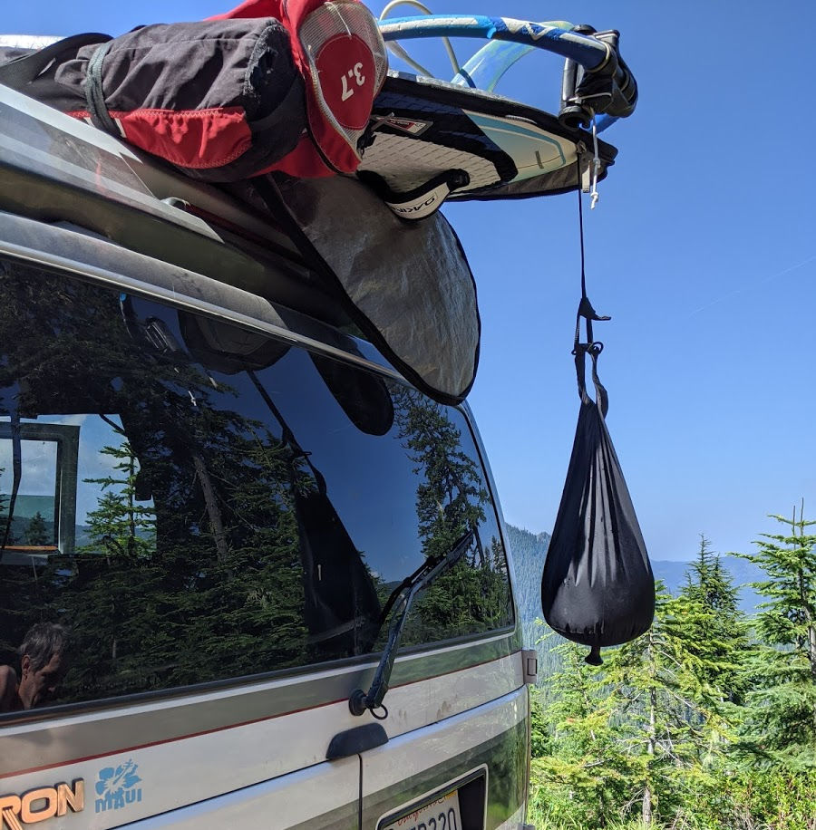 Solar shower is a great way to take a shower living van life