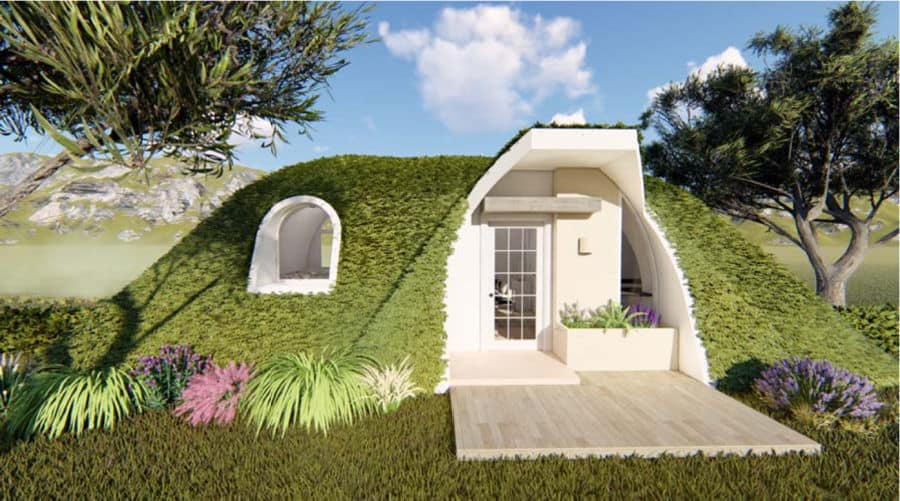 Capri Tunnel tiny home with greenery growing on the roof