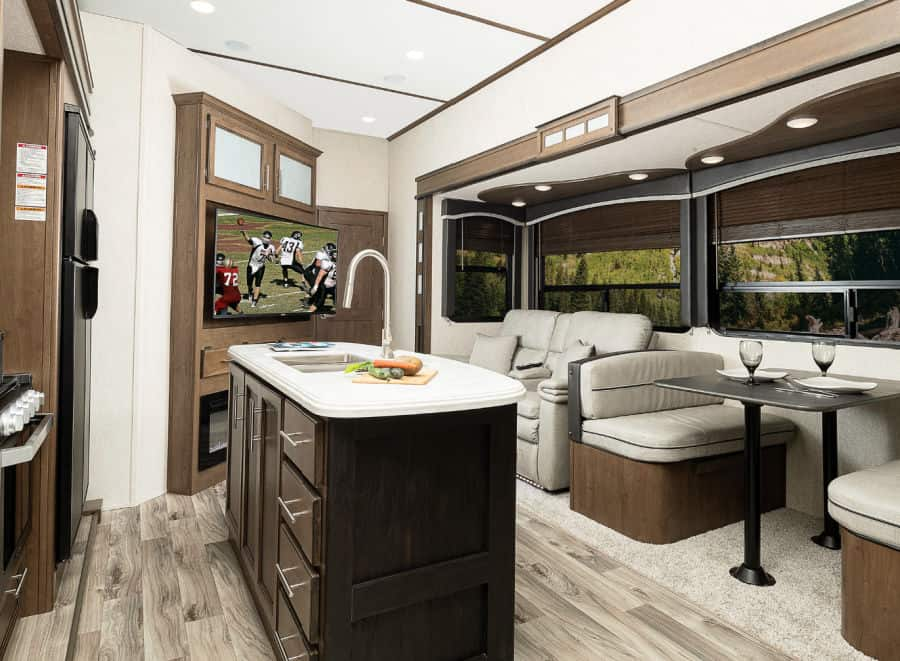 The interior of this best 5th wheel for full-time living is open and spacious
