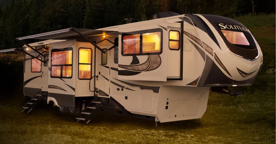 The Grand Design Solitude is our 2nd pick for the best 5th wheel to live in