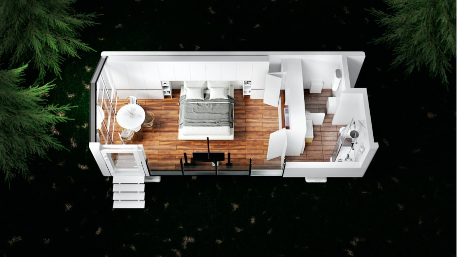 The floorpan of the mONE off grid tiny house