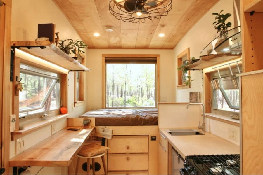 The interior of the McKenzie off grid tiny house on wheels