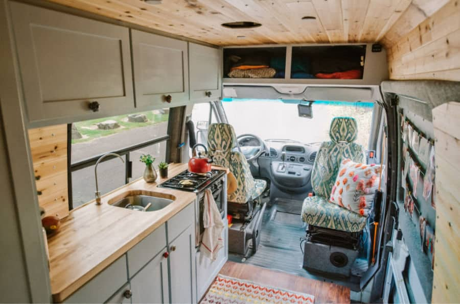 Campervan interior with the best oven for van life: The Camp Chef Outdoor Oven