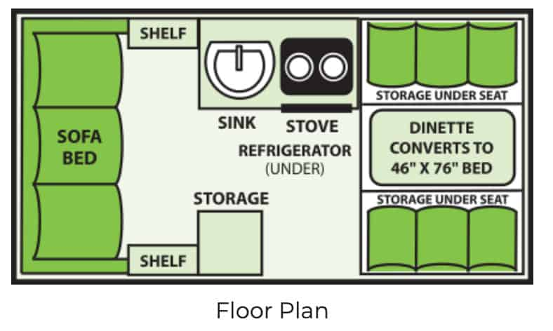 A liner Titanium a frame pop up camper floor plan