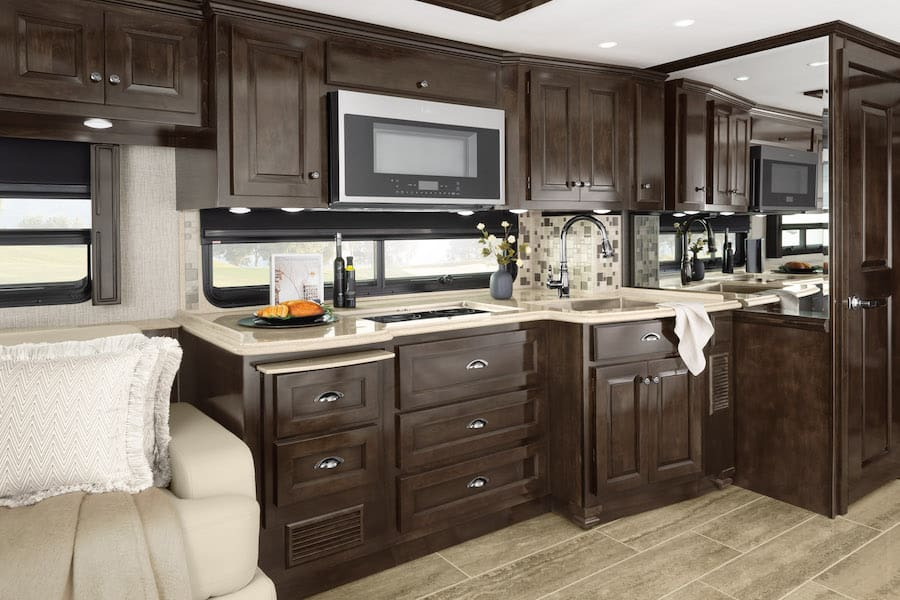 Interior of the best class A RV for full time living