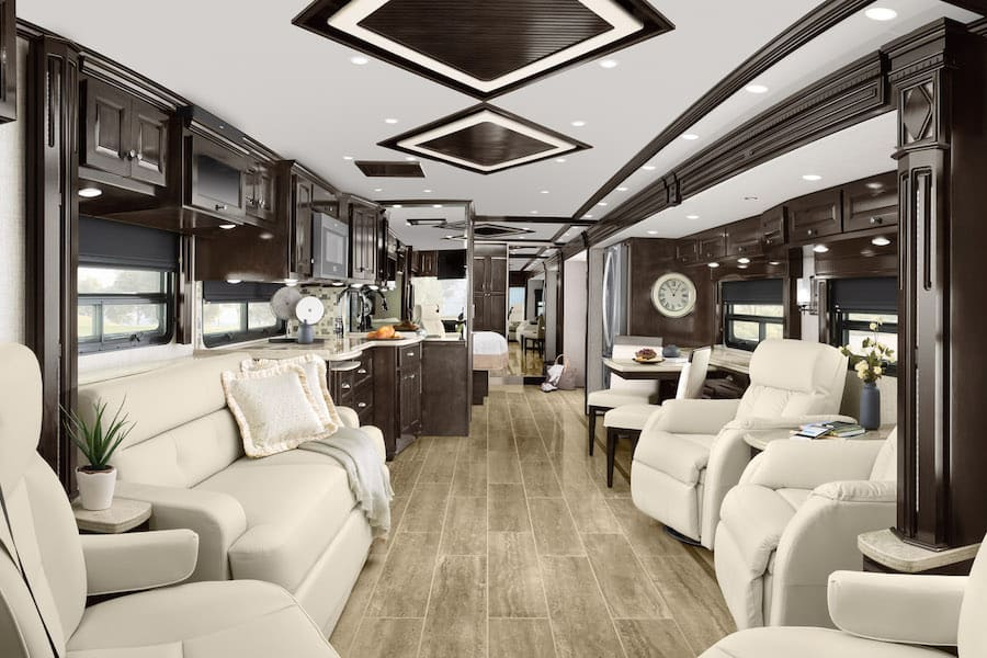 Luxurious interior of this Class A RV, one of the best RVS for full time living