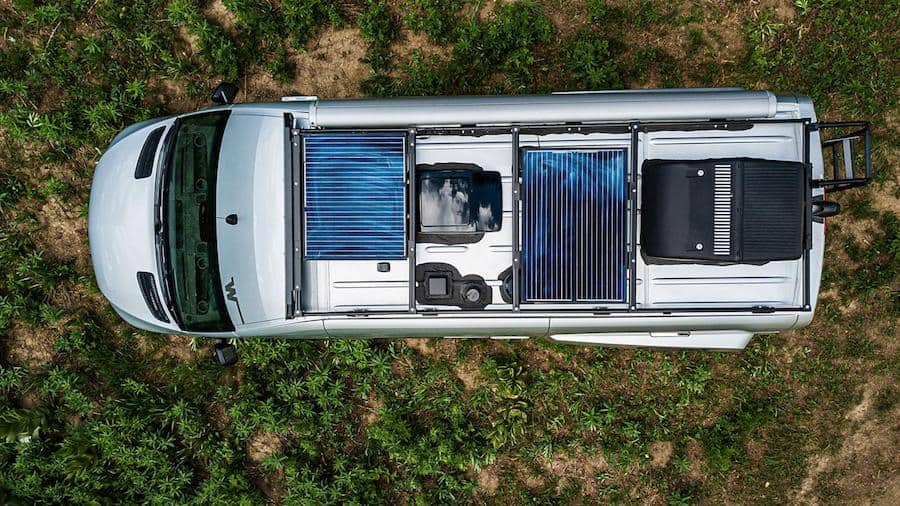 Solar panels on top of the Winnebago Revel, the best Class B RV for full time living