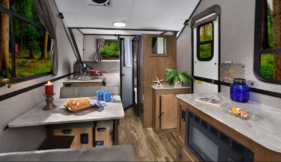 Flagstaff a frame pop up camper interior with table and counter
