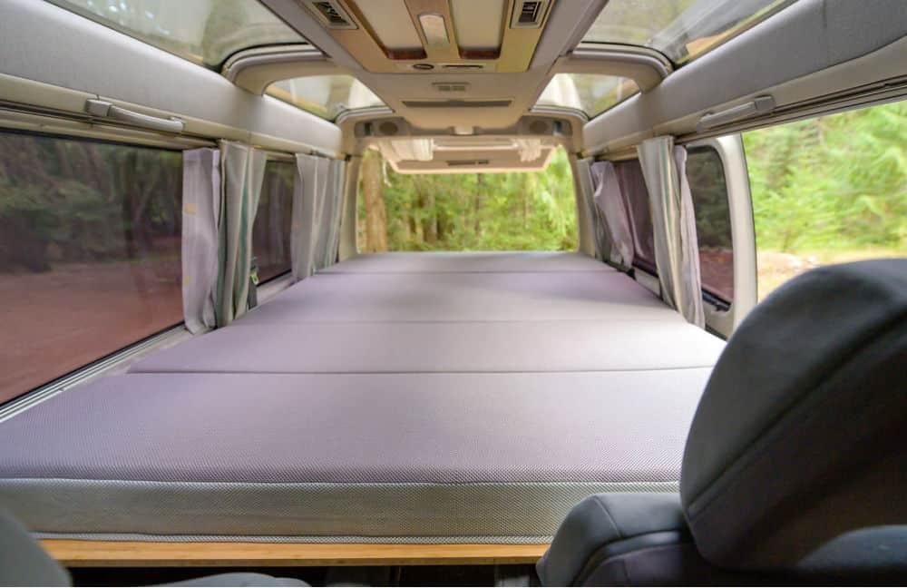 Interior of budget campervan Mitsubishi Delica