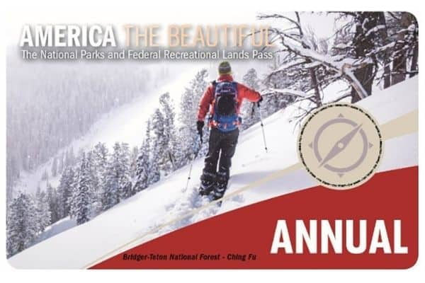 America The Beautiful National Parks pass with man skiing on front