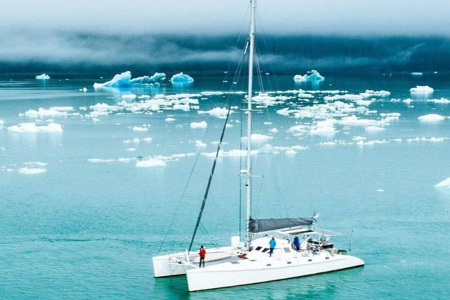 Outremer 45 sails icy seas.
