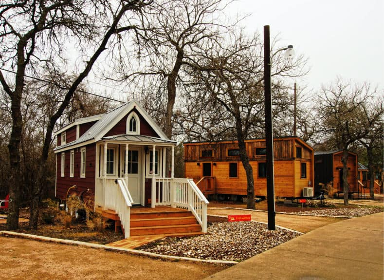 A Tiny home community, with tiny houses lining the street